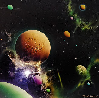 Golden Moon Dust 1993 36x36 Original Painting - Michael David Ward