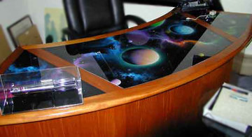 Desk With Reverse Glass Paintings 1999 30x96 Huge  Original Painting - Michael David Ward