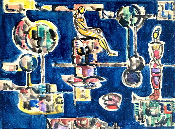Interior Watercolor 1968 17x20 Watercolor - Jose Mijares