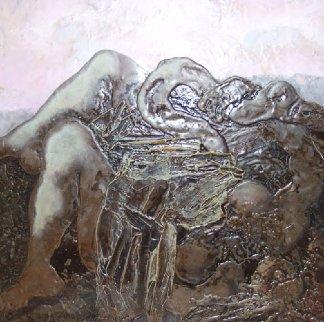 Leda and the Swan 44x44 Huge Original Painting - Vyacheslav Mikhailov