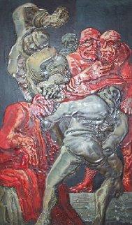 Beating of Christ 51x31 Huge Original Painting - Vyacheslav Mikhailov