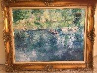 Drifting Lake And Boat 36x36 Original Painting by Henrietta  Milan - 1