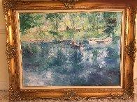 Drifting Lake And Boat 36x36 Original Painting by Henrietta  Milan - 2