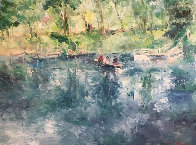 Drifting Lake And Boat 36x36 Original Painting by Henrietta  Milan - 0