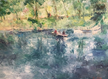 Drifting Lake And Boat 36x36 Original Painting - Henrietta  Milan