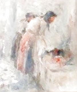 Washer Women 1985 34x30 Original Painting - Henrietta  Milan