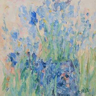 Iris Alone 38x38 Original Painting - Henrietta  Milan