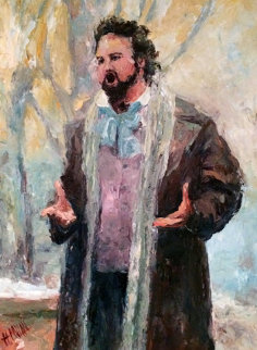 Luciano Pavarotti 47x38 Original Painting - Henrietta  Milan