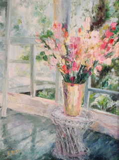Sun Porch Bouquet 1995 50x40 Original Painting - Henrietta  Milan