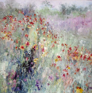 Field By My House 1992 39x39 Super Huge Original Painting - Henrietta  Milan