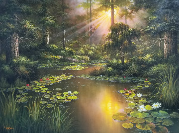 Idyllic Creek 2006 34x44 Super Huge Original Painting -  Milan