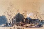 Untitled (Farmhouse With Bridge) Watercolor 1966 21x28 Works on Paper (not prints) - Millard Wells