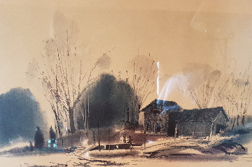 Untitled (Farmhouse With Bridge) Watercolor 1966 21x28 Works on Paper (not prints) - Millard Wells