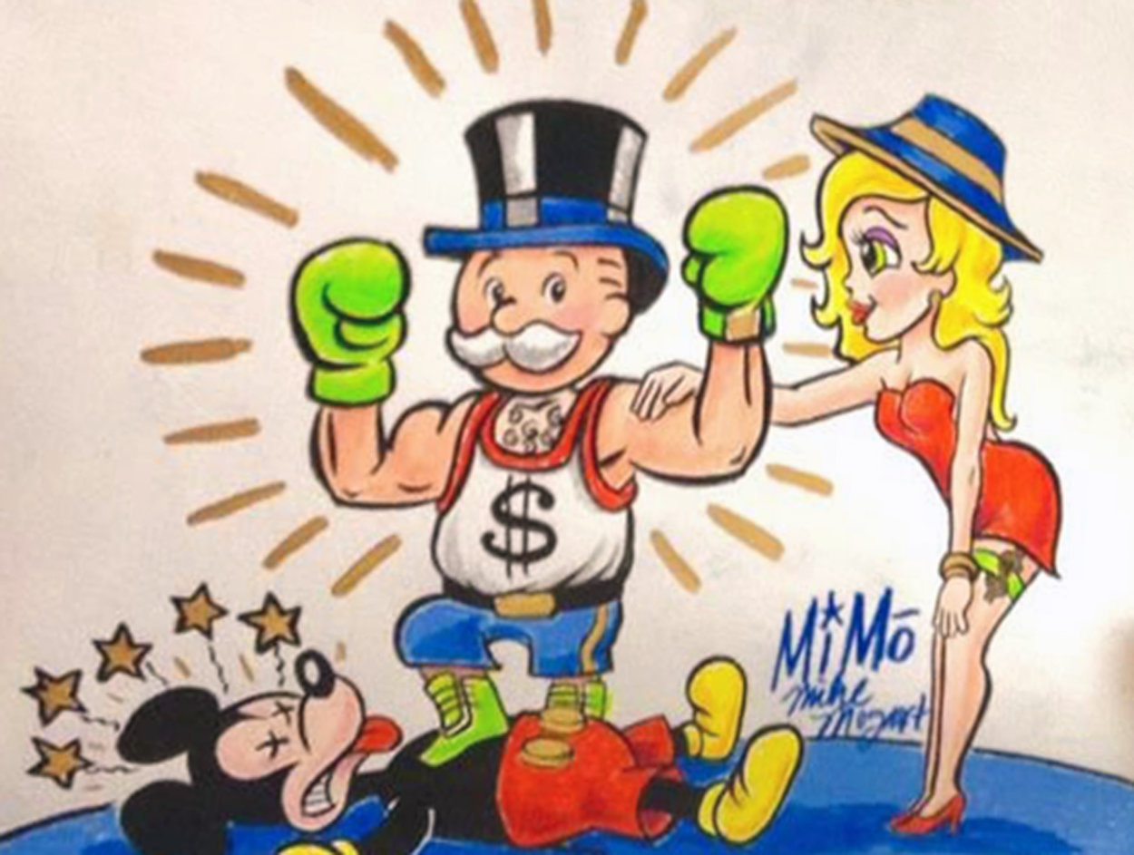 Mimo Monopoly Man Boxing Mickey Unique 2013 15x13 Works on Paper (not prints) by  MiMo