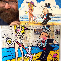 Monopoly Man Goldie Beach Day - Unique 2013 15x13 Works on Paper (not prints) by  MiMo - 4