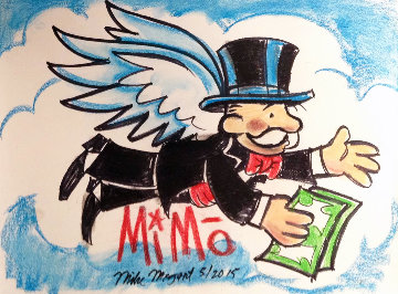 Flying Monopoly With Cash Unique 2012 25x18 Works on Paper (not prints) by  MiMo