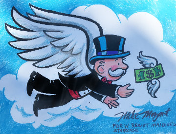 Flying Monopoly Money Unique 2013 Works on Paper (not prints) by  MiMo
