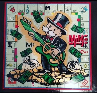 Mr Monopoly on Vintage Monopoly Board 2016 20x20 Original Painting -  MiMo