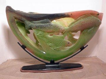 Koi Sunrise Unique Glass Sculpture 2009 15x26 Sculpture - Charlie Miner
