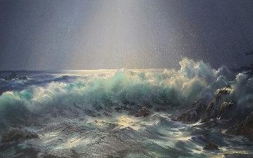 Moonlit Symphony 1982 27x45 Original Painting - Rosemary Miner