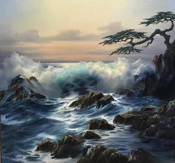 Pebble Beach Sunset 35x35 Super Huge Original Painting - Rosemary Miner