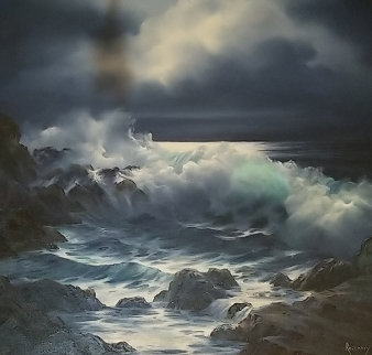 Untitled Seascape  36x36 Original Painting - Rosemary Miner