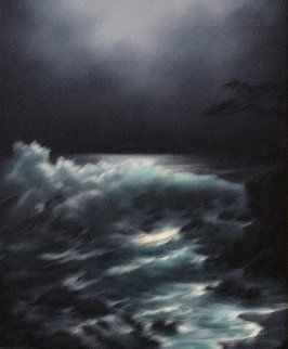 Moonlit Cove 1970 28x24 Original Painting by Rosemary Miner