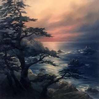 Sentinels in the Mist 30x30 Central California Coast Original Painting - Rosemary Miner
