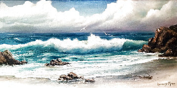 Untitled California Seascape 1960 24x44 Original Painting - Rosemary Miner