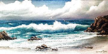 Untitled California Seascape 1960 24x44 Super Huge Original Painting - Rosemary Miner