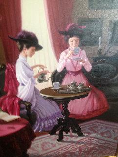Tea Time 1980 40x50 Original Painting by Zu Ming Ho