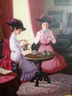Tea Time 1980 40x50 Super Huge Original Painting - Zu Ming Ho