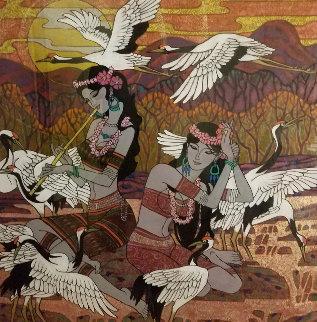 Golden Fortunes 2005  47x47 Super Huge Original Painting - Zu Ming Ho