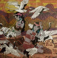 Golden Fortunes 2005  47x47 Huge Original Painting by Zu Ming Ho - 1
