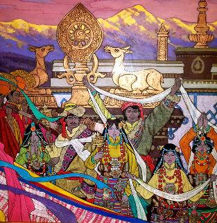 Himalayan Wedding March 2007 47x47 Huge Original Painting - Zu Ming Ho