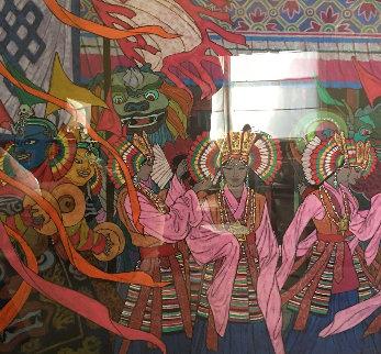 Rainbow Headress 2003 47x47 Super Huge Original Painting - Zu Ming Ho