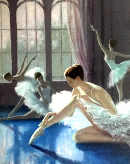 Adjusting the Slipper 1990 40x34 Original Painting - Zu Ming Ho
