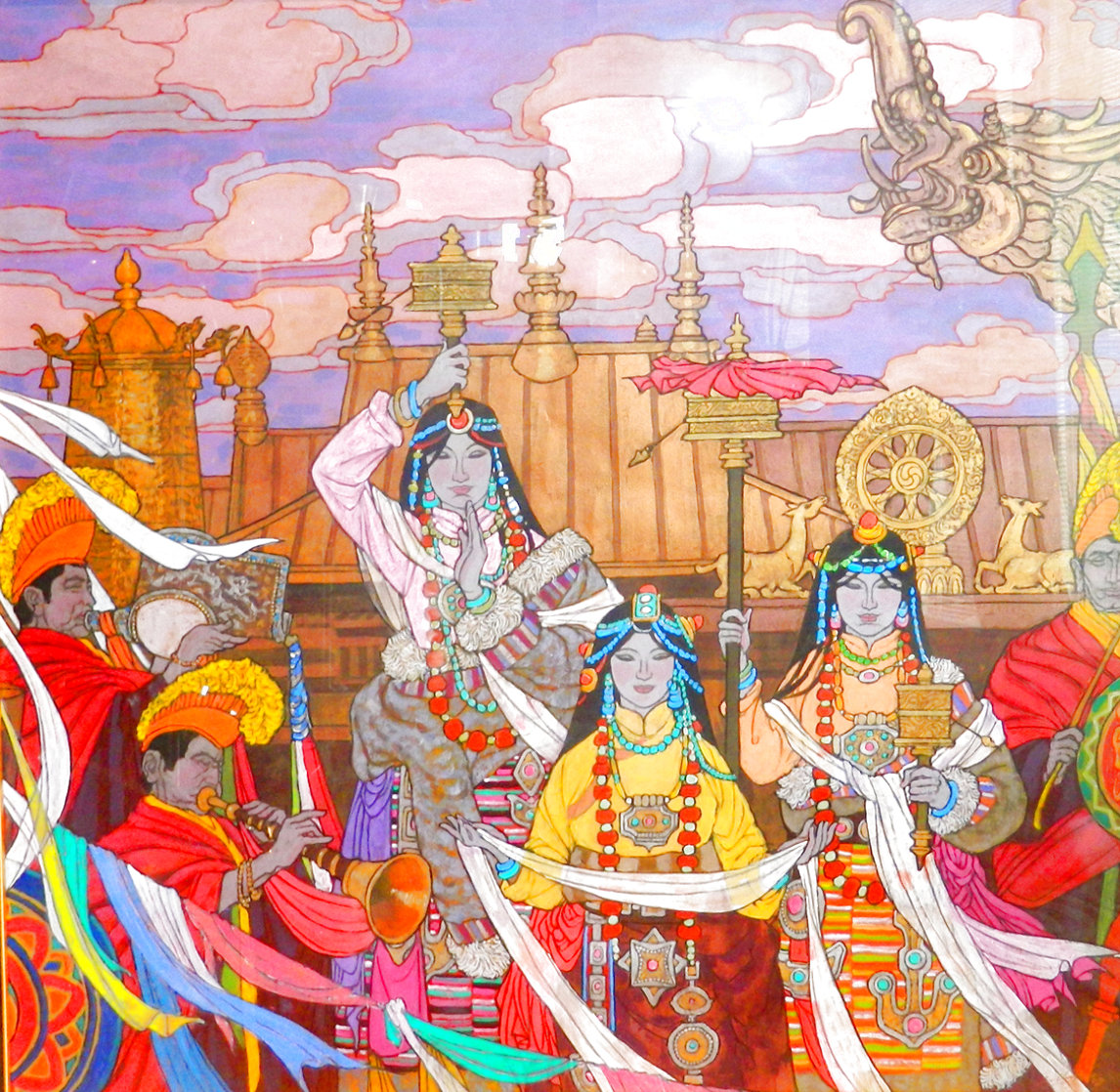 Golden Fortunes 35x35 Super Huge Original Painting by Zu Ming Ho