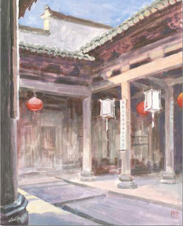 Untitled Courtyard 19x15 Original Painting - Zu Ming Ho