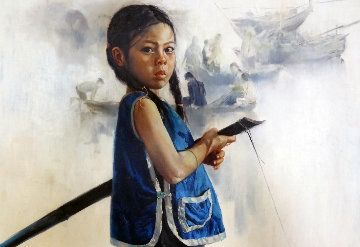 Little Rowing Girl 1972 31x43 Super Huge Original Painting - Wai Ming