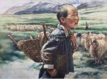 Tibetan Shepherd 1984 36x48 Original Painting - Wai Ming