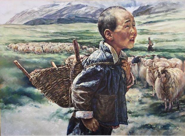 Tibetan Shepherd 1984 36x48 Original Painting by Wai Ming