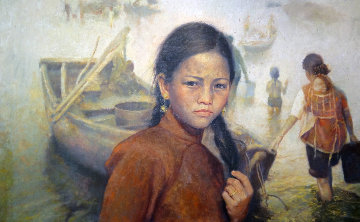 Family Going Out to Sea 1972 31x43 Original Painting by Wai Ming