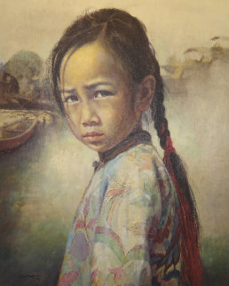 Ponytail Girl 1973 26x22 Original Painting by Wai Ming