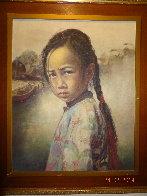 Ponytail Girl 1973 26x22 Original Painting by Wai Ming - 1