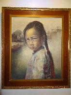 Ponytail Girl 1973 26x22 Original Painting by Wai Ming - 2