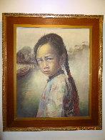 Ponytail Girl 1973 26x22 Original Painting by Wai Ming - 3