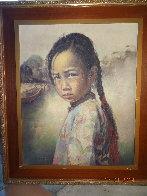Ponytail Girl 1973 26x22 Original Painting by Wai Ming - 4