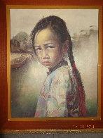 Ponytail Girl 1973 26x22 Original Painting by Wai Ming - 5