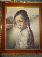 Ponytail Girl 1973 26x22 Original Painting by Wai Ming - 6